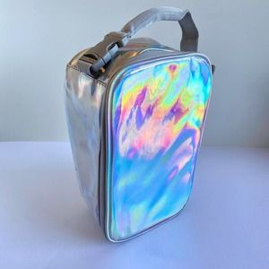 Silver iridescent insulated lunchbox
